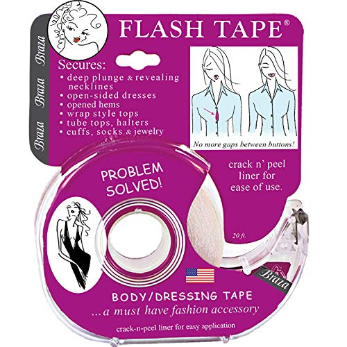 Braza Flash Tape - Double Sided Clothing Tape,Clear,20 ft roll