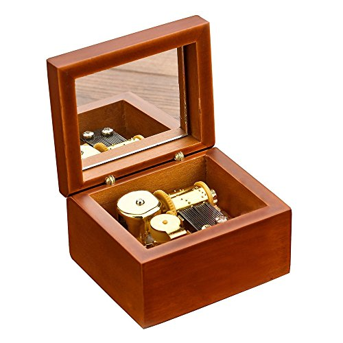Wind-Up Wooden Music Box with Gold-plating Movement in,Amazing Grace,Brown