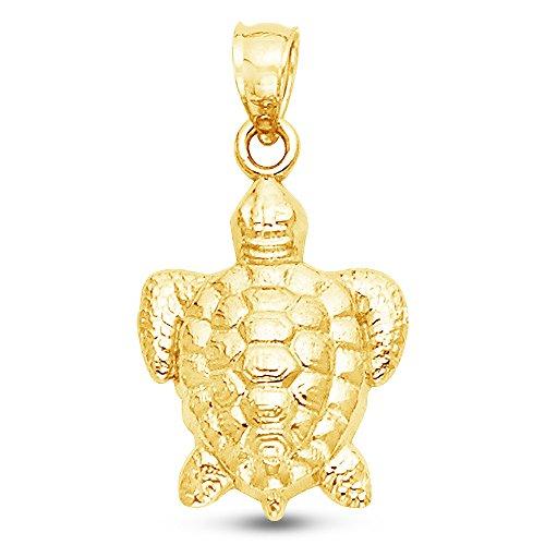 Sonia Jewels 14K Yellow Gold Diamond-Cut Turtle Pendant Charm (17x13 mm) ()