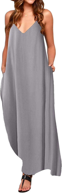 TALLA S. ACHIOOWA Mujer Vestido Elegante Casual Dress Cuello V Sin Manga Playa Tirantes Bolsillos Punto Falda Larga Gris