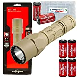 G2X Pro Dual-Output 600 Lumens LED Flashlight Tan with 4 Extra CR123A Batteries and Alliance Gadget Battery Case