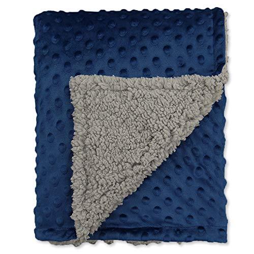BlueSnail Toddler Minky Blanket with Plush Shepra Fleece Layer for Boys and Girls (Navy+Light Gray, 40Wx 60L)