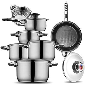 Amazon Com Royalty Line 16 Pcs Cookware Set Silver