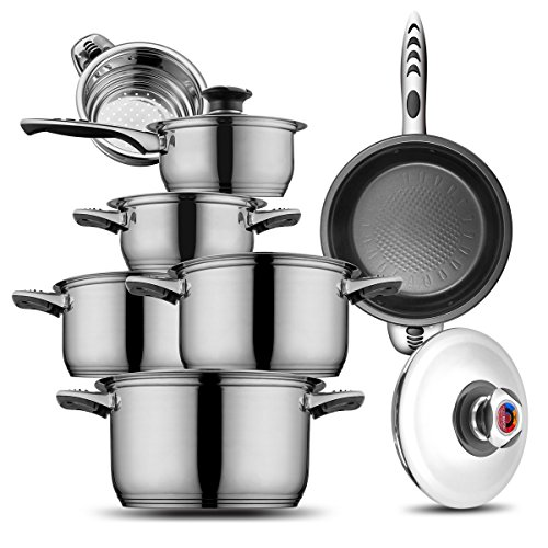 Cookware set Stainless Steel Cookware set 18/10 and 18/8 HOFFMAYRO 13 pieces of anti-hot thermometer Gift Full Set of Pots, saucepan,casserole,steamer frying pan(spray non-stick)