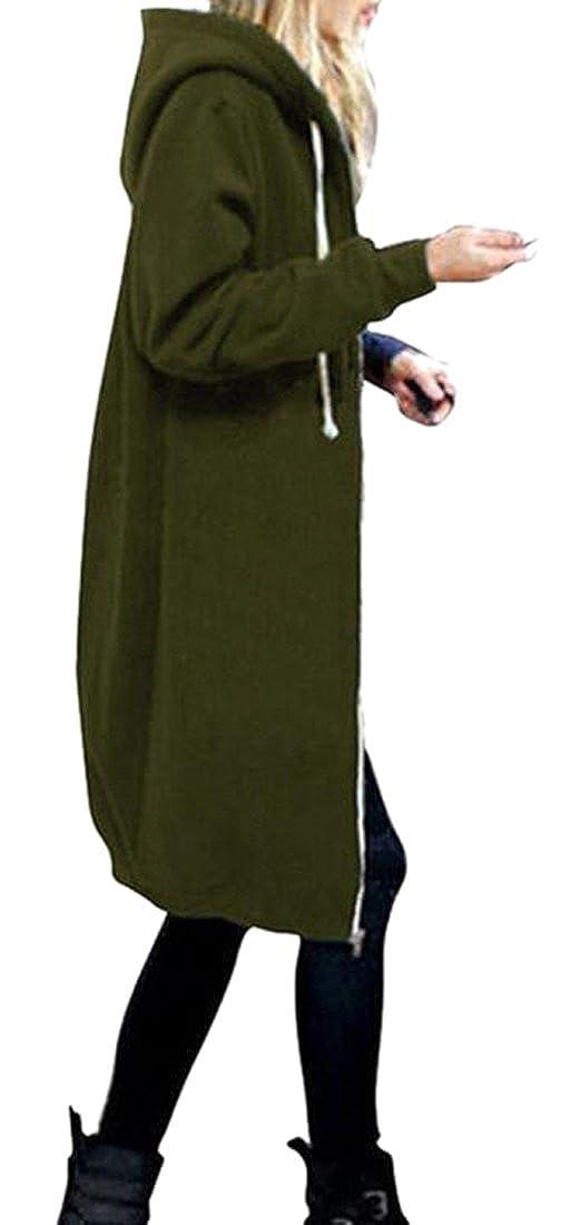 XTX Womens Plus Size Zip-Up Drawstring Casual Hoodie Jacket Long Sweatshirt