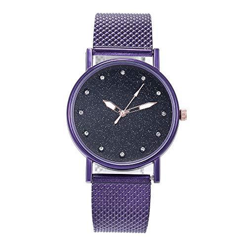 Orcbee  _Fashion Luxury Inlay Diamond Starry Dial Quartz Silicone Tape Ladies Watch (Purple)