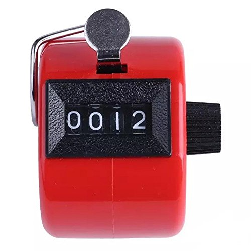 (Sconary Colored Digital Hand Held Counter Plastic Steel 4 Digit Number Portable Instrument Stylish Comfortable (red, 4.3x3cm/1.69