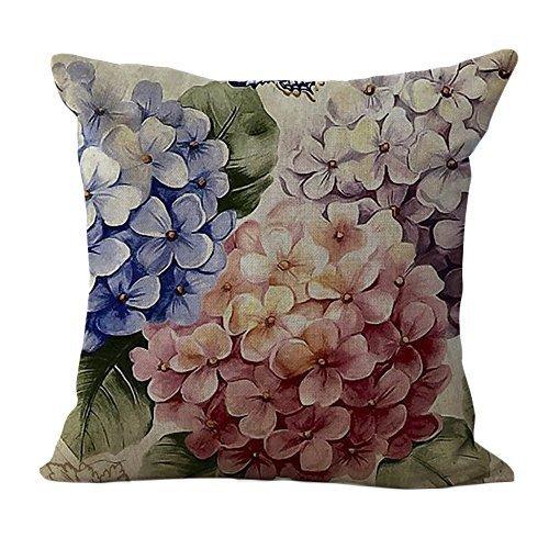 ChezMax Linen Blend Classical Flowers Print Cushion Cover Cotton Pillowslip Square Decorative Throw Pillow Case 18 X 18