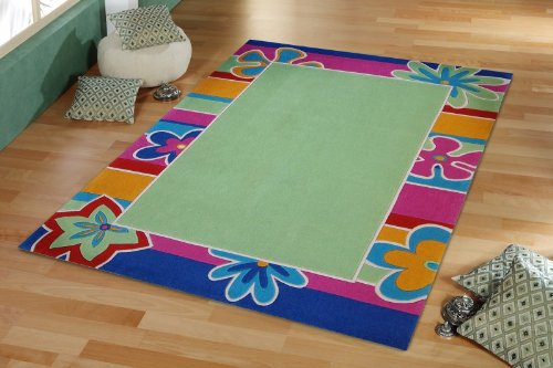 Designerteppich Flower Farbe grün - florale,knallige Bordüre im Retrolook 100% feines Japanacryl , Maß:160x230cm Rechteck