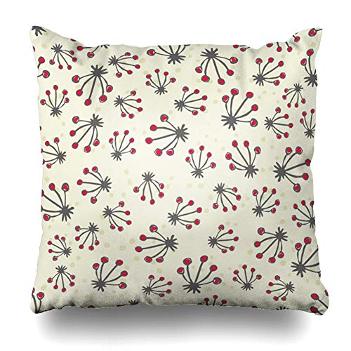 Bloom Border Dot - Ahawoso Throw Pillow Covers Gray Beige Abstract Flowers Dots Retro Floral Sketch Bloom Nature Border Botanical Color Delicate Zippered Pillowcase Square Size 18 x 18 Inches Home Decor Cushion Case