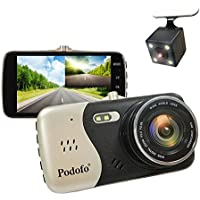 In-Car Dash Cam, Podofo Dual Lens Full HD 1080P Car Camera Front and Rear DVR Driving Recorder 170° Wide Angle 4.0 IPS Screen Night Vision/ WDR /G-Sensor/Parking Mode/Motion Detection/Loop Recording