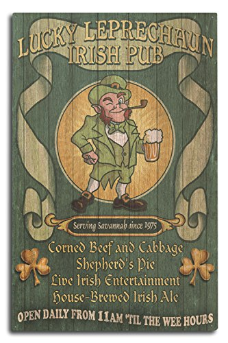 Savannah, Georgia - Leprechaun Irish Pub Vintage Sign (10x15 Wood Wall Sign, Wall Decor Ready to Hang)