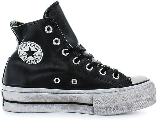 Converse Chaussures Femme Baskets All Star Platform Cuir Noir Femme  Automne-Hiver 2019