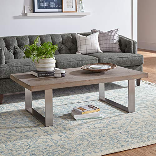 Stone & Beam New England Tassled Wool Farmhouse Area Rug, 8 x 10 Foot, Blue and Cream