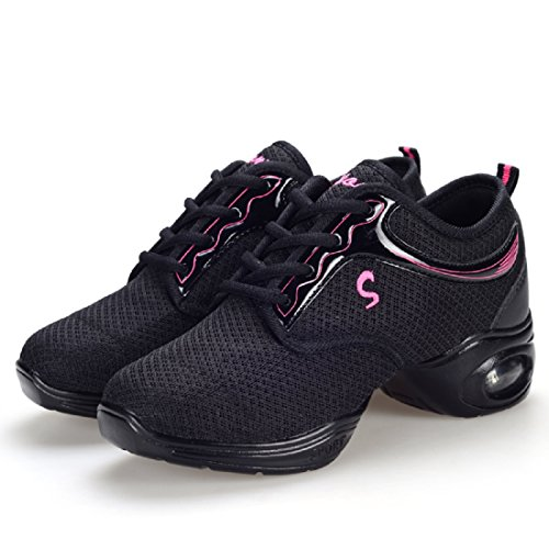 YIBLBOX Womens Lightweight Breathable Ballroom Boost Mesh Dance Sneakers Trainers Jazz Heel Shoes Black Double Mesh 7tmvw