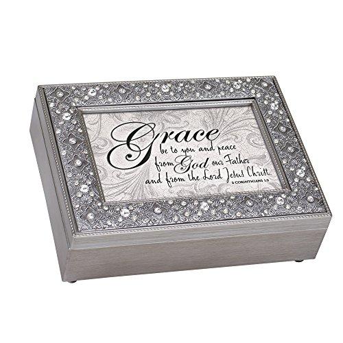 Cottage Garden Grace Peace from God Filigree Jewel Bead Silver Tone Music Box Plays Amazing Grace