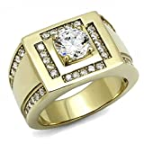 Men's Yellow Gold Tone IP Stainless Steel Nugget Wedding Ring