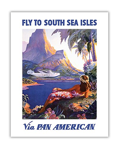 Fly to South Seas Isles via Pan American - Pan American Airlines (PAA) PAN AM - Vintage World Travel Poster by Paul George Lawler c.1940s - Hawaiian Fine Art Print - 11in x 14in