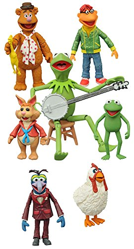 The Muppets Fozzie, Scooter, Gonzo, Camilla, Kermit, Robin, Bean Bunny Action Figures Set of 7