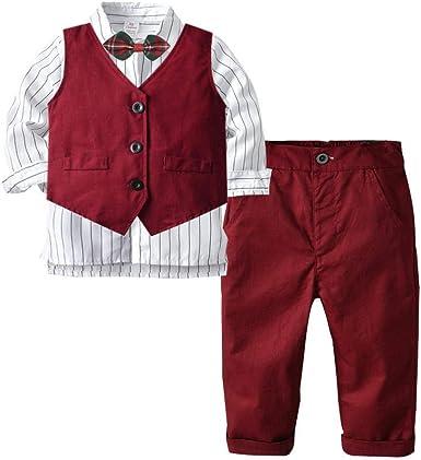KIDsstz - Conjunto de Ropa para niño y bebé, Traje para otoño, Camisa Blanca, Chaleco Rojo, Traje de Tres Piezas borgoña 80 cm: Amazon.es: Ropa y accesorios