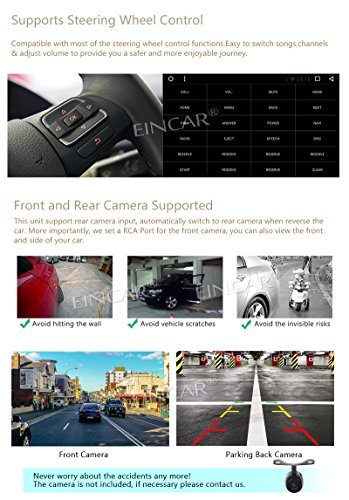 Eincar 7 inch Car Stereo Android7.1 Touchscreen Double Din Autoradio in Dash 1080P Video Car Player Quad-Core CPU GPS Navigation Support Wifi Bluetooth RDS SD//USB//3G//OBD2// Apple Play Mirrorlink P