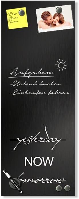 Glas Magnettafel Modernes Design // 40x100cm Wandtafel f/ür Notizen Notiztafel K/üche Metal-Optik Glasbild Schwarz
