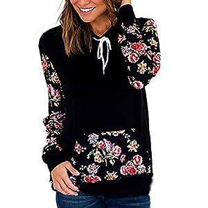Halife Women's Floral Sleeve Cowl Neck Pullover Hoodies Sweatshirts With Kangaroo Pocket