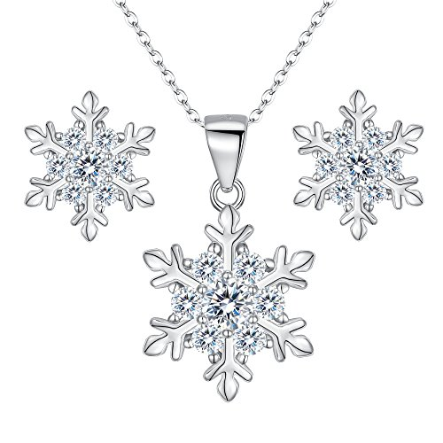 EVER FAITH 925 Sterling Silver CZ Winter Party Snowflake Flower Necklace Stud Earrings Set Clear (Earrings Snowflake Winter)