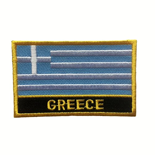 Greece Flag Patch/Sew-On Morale Patches (Greek Iron-On w/Words, 2
