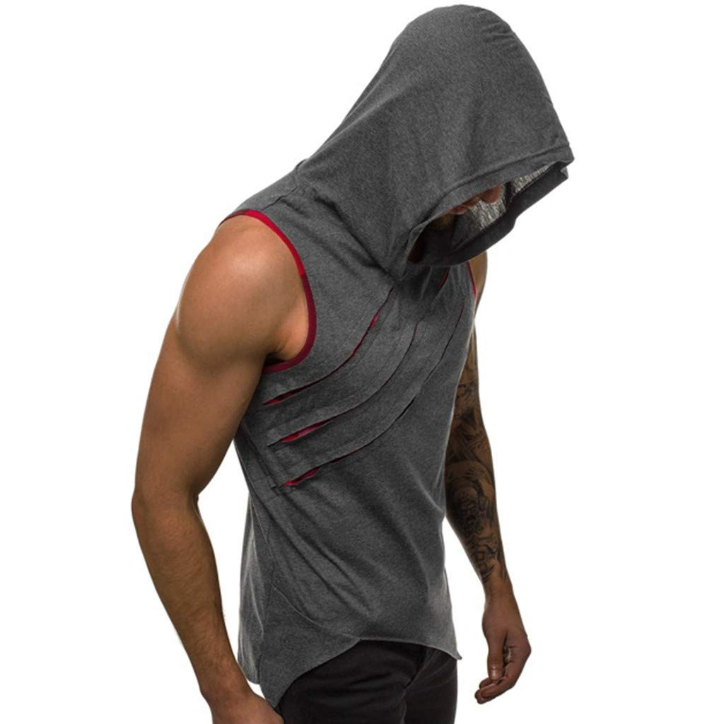 995105f9 Amazon.com: Mens Hollow Workout Hooded Tank Tops Sleeveless Gym Hoodies  Cool and Muscle Cut: Kitchen & Dining