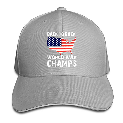 Back To Back World War Champs Funny USA Adjustable Unisex Hats Visor Hats Sanwich Bill Caps ()