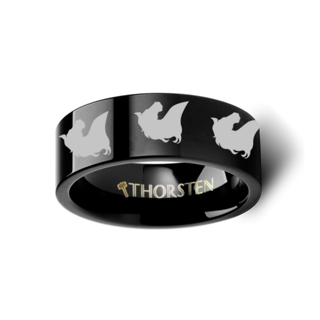 Thorsten Animal Horse Head Equestrian Print Pattern Ring Flat Black Tungsten Ring 10mm Wide Wedding Band from Roy Rose Jewelry