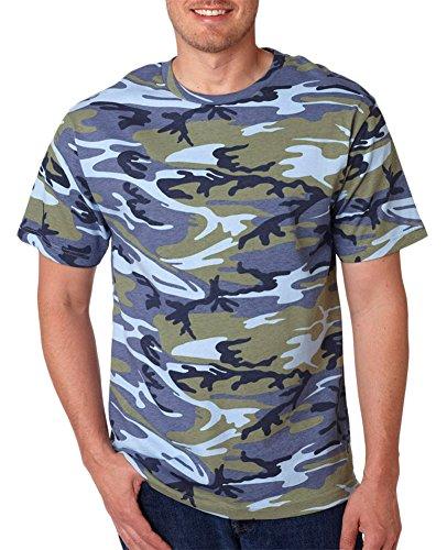 Urban Camouflage T-shirt - Code V Adult Camouflage Ribbed Woodland T-Shirt, Blue Woodland, XXX-Large