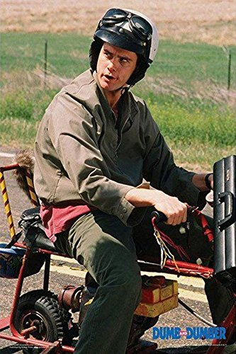 Buyartforless Dumb and Dumber - Lloyd on Motor Bike Scooter 36x24 Movie Photograph Art Print Poster Jim Carrey -