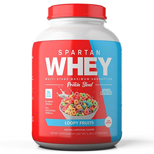 Sparta Nutrition Spartan Whey: Best Rated Protein Powder Blend, Best Tasting Whey Protein Isolate and Micellar Casein Blend with AstraGin for Max Amino Acid Absorption, Loopy Fruits, 5 lbs, 67 Scoops