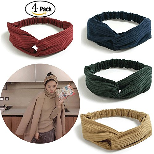 Jiaqee Stretchy Headbands Crochet Cotton Headwraps Turban Knotted Scrunchies Hair Accessories for Women and Girls(4 Pack) (Camel,Dark blue,Dark red,Dark green) - Hand Knotted Camel
