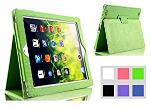 Feelglad Pu Leather Slim Fit Folio Case and Stand Feature Perfect Fit Stand Case Holder for Ipad 2 Ipad 3 Ipad 4 - Green