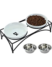 FOREYY Elevated Cat Bowls with 2 Ceramic Bowls and 2 Stainless Steel Bowls,Raised Cat Food Water Bowl with Iron Stand,Porcelain Pet Dishes for Cats and Small Dogs,16 Ounces,Dishwasher Safe