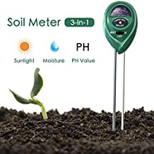 Soil pH Meter, Acetek 3-in-one Soil Test Moisture, Sunlight, pH Meter, Gardening Tools for Garden, Plant, Lawn, Herbs, Flowers, Trees, Indoor&Outdoor, No Battery Needed