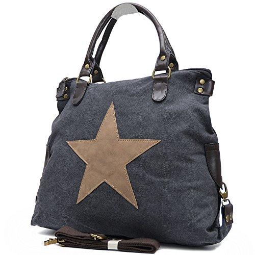 Vain Secrets Sternen Shopper Damen Handtasche mit Schulterriemen Schwarz Af mt0tqHN
