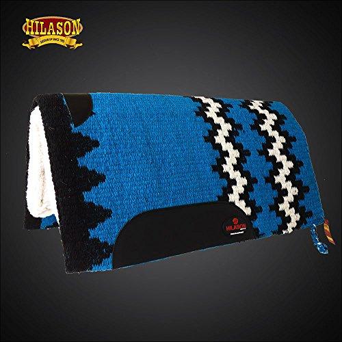 (HILASON Made in USA Western Wool Shock Buster Saddle Blanket Pad White Blue)