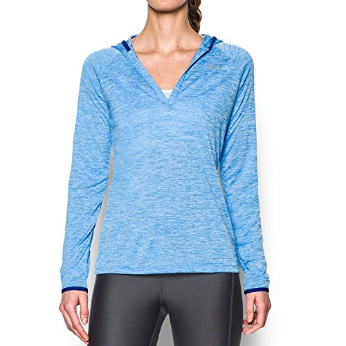 Under Armour Women's Tech Long Sleeve Hooded Henley, Water/Heron, Large
