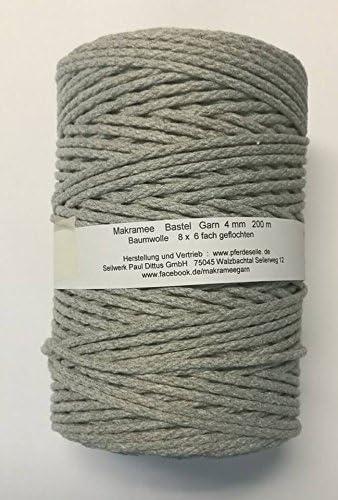 Caballo eile de macramé hilo macramé algodón hilo Manualidades gris claro (similar a taupe) 200 metros 4 mm: Amazon.es: Hogar