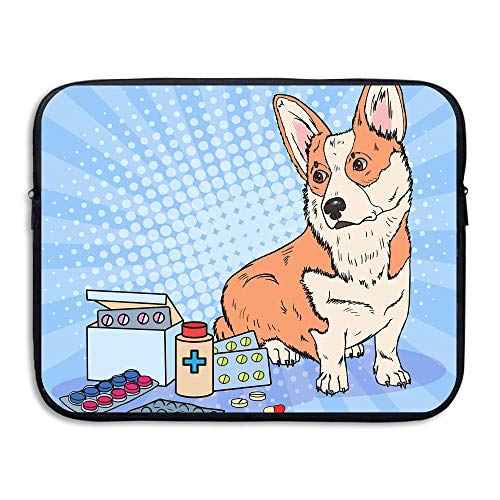 Xyou Dog With Medication Water Repellent Portable Notebook Bag Soft Neoprene Sleeve Case Travel Bag Pouch Protector Cover For Women Men,Apply To 13 Inch 15 Inch Laptop ()