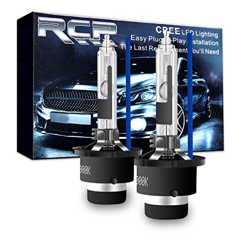 RCP - D2R8 - (A Pair) D2R 8000K Xenon HID Replacement Bulb Factory Ice Blue Metal Stents Base 12V Car Headlight Lamps Head Lights 35W (Factory Hid Lights)