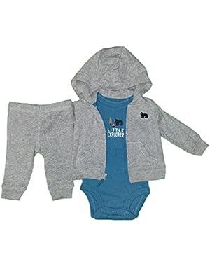 Baby Boys 3-Piece Short-Sleeve Safari Bodysuit, Little Explorer Bear, Newborn