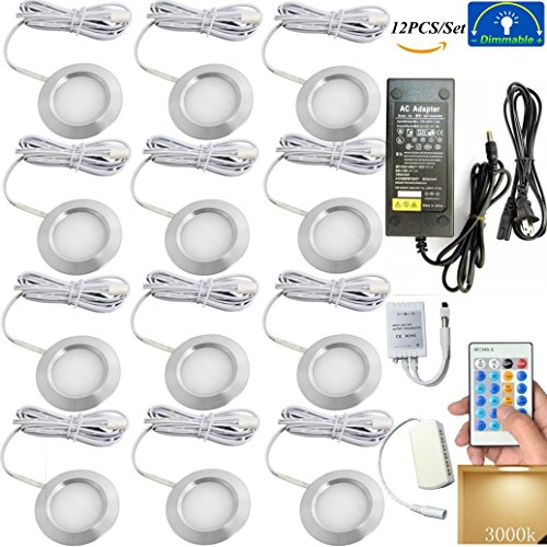 Xking K0769 Dimmable Ultra-thin Concealed LED Under Cabinet Lighting/Cabinet top lights/Ceiling light Kit, 12V,Total36W / Controllable: Flash , Strobe , Fade (12PCS/Set,Warm White)