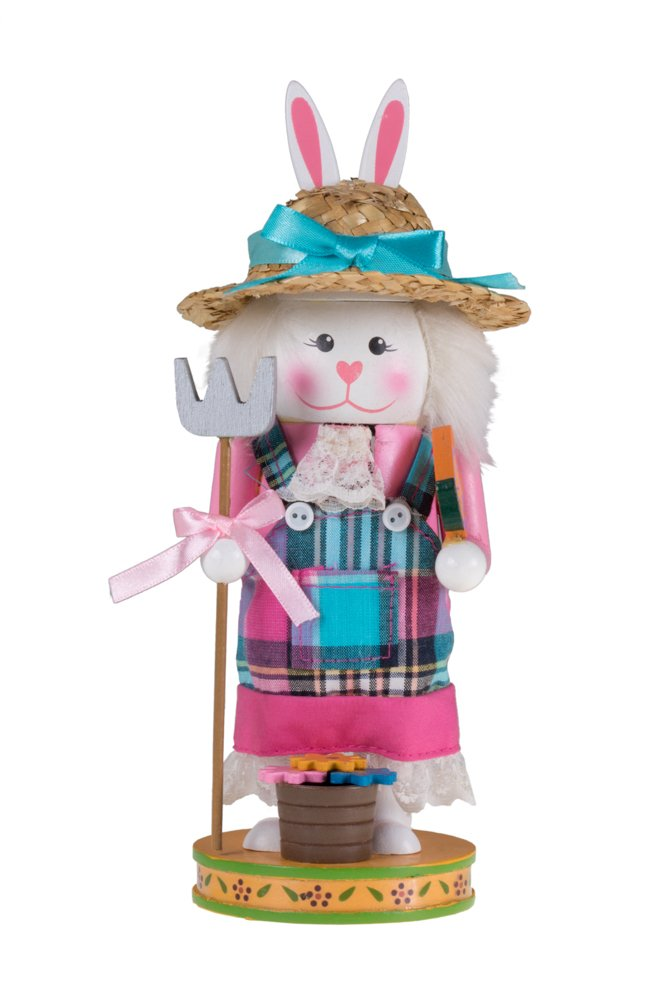 Unique Gardening Bunny Rabbit Nutcracker | Pitchfork and Flower Basket | Festive Christmas and Easter Decor | 9'' Tall Perfect for Shelves and Tables | Great Addition to Any Collection | 100% Wood