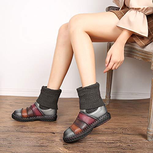 Gaslinyuan Streifen Frauen Stiefel Stiefel Stiefel Leder Mitte Kalb Knöchel Flache Vintage Schuhe (Farbe   Grau Größe   EU 40) 03b7ac