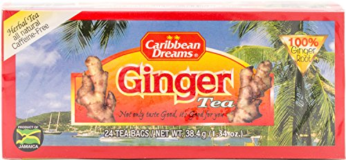 Caribbean Dreams Ginger Tea, 24 Tea Bags, 100% Ginger Root, Herbal, Natural, Caffeine Free Ginger Tea From Jamaica